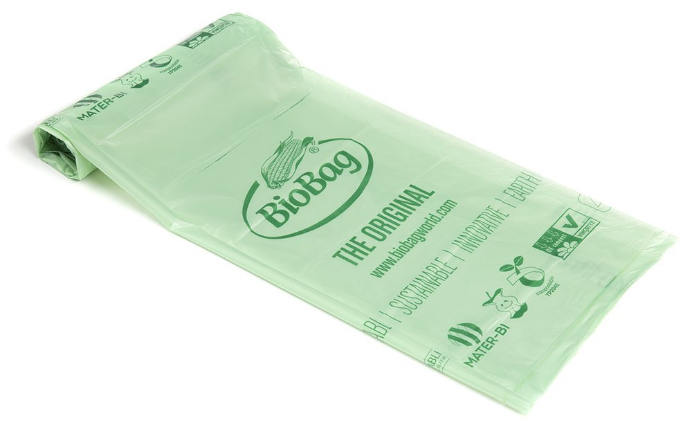BioBag 60 Litre Kitchen Caddy Food Waste Bin Liners, 40 Bags, compostable plastic, Green, 102 x 55 x 0.03 cm