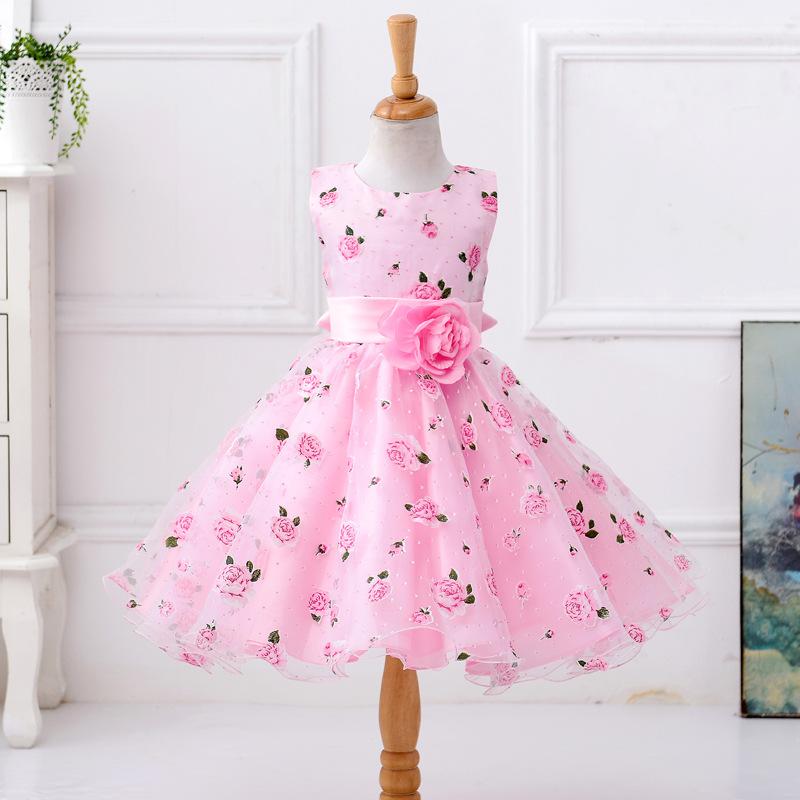 Venta al por mayor vestido de niña rosa-Compre online los mejores ...