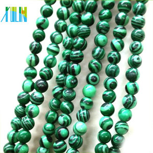 wholesale solid agate semi precious synthetic malachite round beads