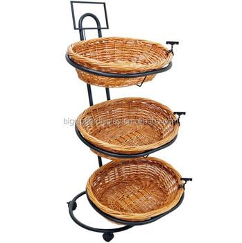Bdd Baf60 Black Rolling 3 Tier Wicker Basket Stand Retail Bread Display Racks Bakery Rack On Wheels