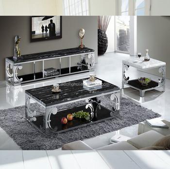 CJ 821# Modern Western Style Black Marble Center Table