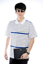 Striped Sailor <span class=keywords><strong>Polo</strong></span> T-Shirt Polyester/Katun 100 Katun Mens Pakaian Nautical Rincian Golf Kemeja Kasual Memakai 220gsm OEM <span class=keywords><strong>Polo</strong></span>
