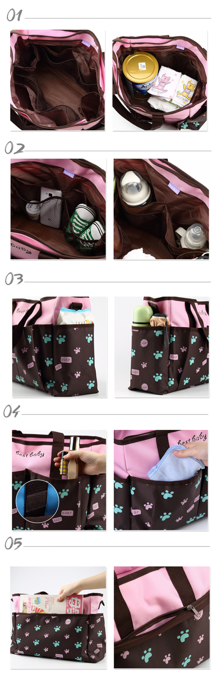 Osgoodway Mother Care Baby Diaper Bag Waterproof Nappy Mummy Shoulder Diaper Tote Bag