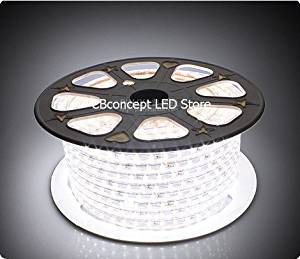 CBConcept 90FT Pure White 120 Volt High Output LED SMD5050 Flexible Flat LED Strip Rope Light - [Christmas Lighting, Indoor / Outdoor rope lighting, Ceiling Light, kitchen Lighting] [Dimmable] [Ready to use] [7/16 Inch Width X 5/16 Inch Thickness]