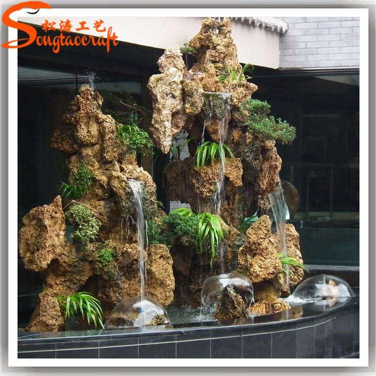 jardn y la casa pared de piedra fuentes de agua cascadas artificiales jardn de fibra roca - Cascadas Artificiales