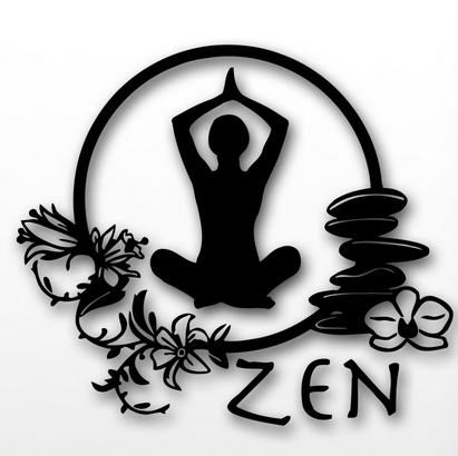 Wall Sticker Zen Meditation Yoga Health Mantra Enlightenment Girl Wall ...