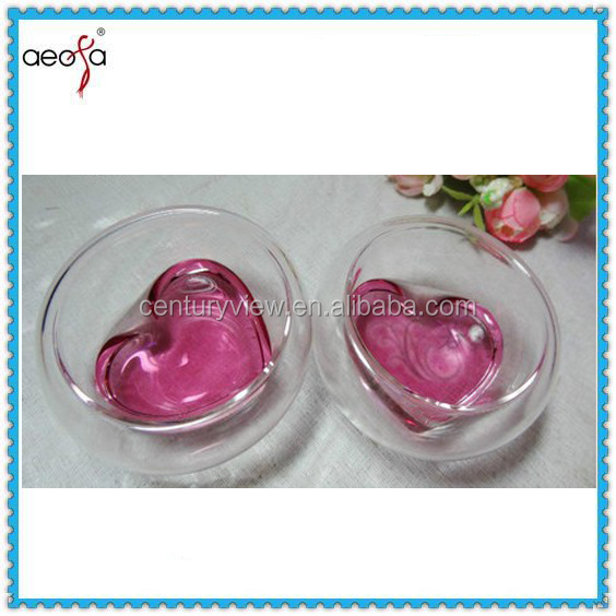 fancy heart shape small double wall glass tea cups