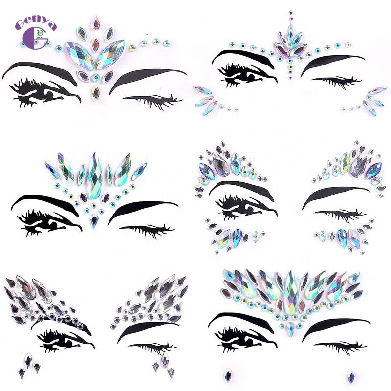 Genya Temporary Body Stickers Crystal Face Jewels Set Gems Eyes Boby Bindi Decorations For Party