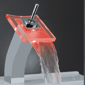 Sink color change LED bathroom glass water basin faucet