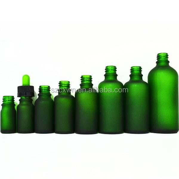 2015 Alibaba China Supplier Dark Green Frosted Glass Bottle Essential Oil Olive Oil Cosmetic BottleGlass Bottles