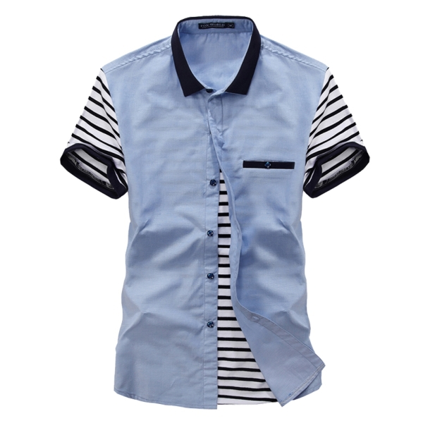 Camisa Social Slim Fit Men Shirts Casual Man Summer Shirts Size M-2XL Fashion Striped Shirts Men Short Sleeve Solid Tops