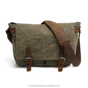 Vintage Canvas Leather Trim DSLR SLR Camera Shoulder Messenger Bag