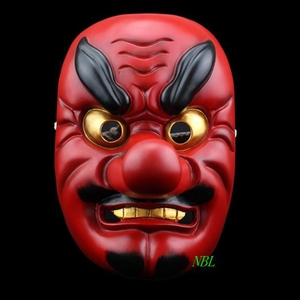 Horror Red Tengu Long Nose Mask Halloween Japanese Tokyo Ghoul Buddhism Noh Dog Grisly Drama Samurai Party Props Resin Masks