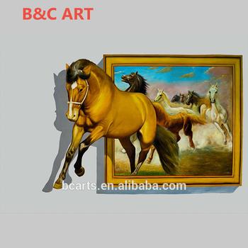 High Quality Animal Photos Running Horse Printing 3d Wall Art Canvas ...