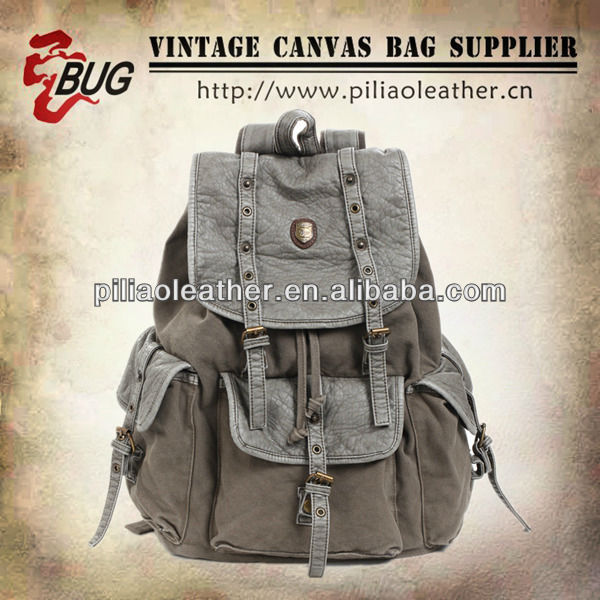 16 OZ Canvas Backpack With PU Leather Trim