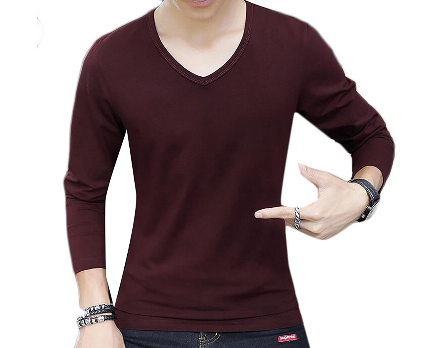 Coolred-Men Long Sleeve Crew-Neck Slim Fit Wild Casual T Shirts