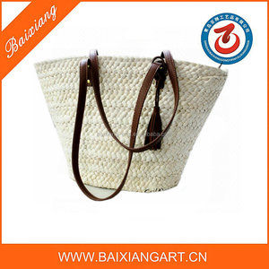 Promotional good quality natural corn husk beach straw handbags