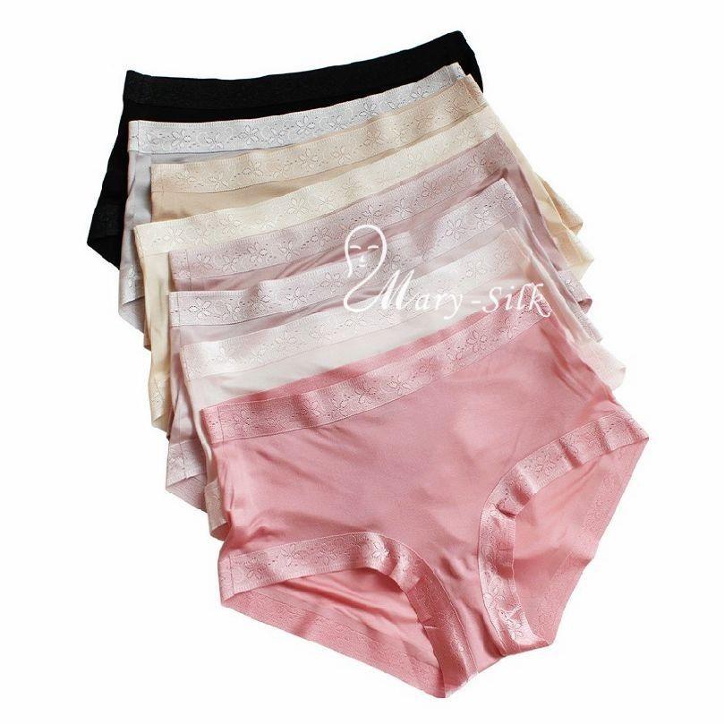 88b5233d9 Get Quotations · Womens Ladies 100% Silk Knitted High Cut Briefs Panties  Underwear Knickers S M L XL Black Red