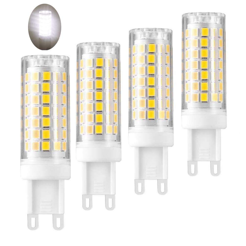 All-New G9 LED Light Bi-pin Base,Halogen Bulbs Equivalent 850lm, T4 JD Type LED G9 Dimmable Bulbs AC110V 120V 130 Voltage Input, Daylight White 6000K(Pack of 4)