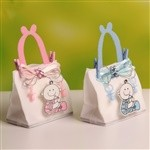 Bear Ribbon Decorated Plastic Baby Bottle Favors For Boy/Girl Baby shower Favors