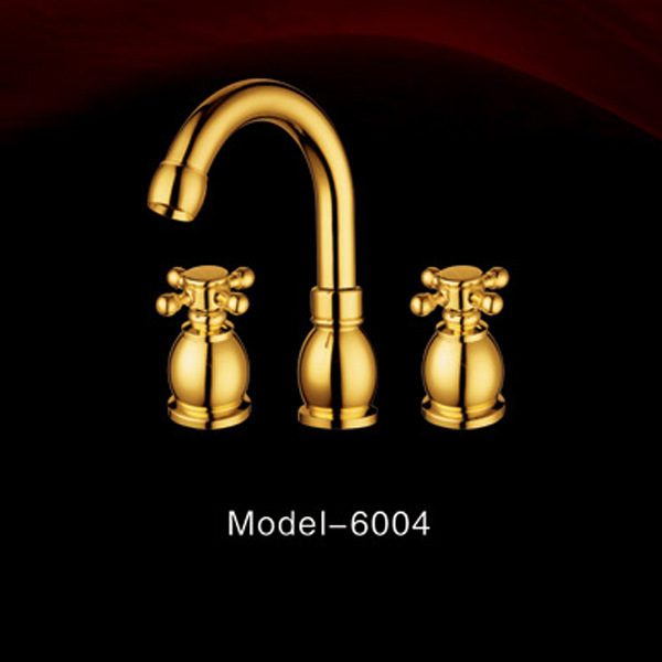 Modern hotel design three hole double handle curved gold color basin faucet