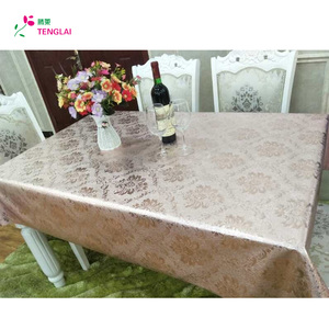 Tenglai sequin rosette satin metal printed table cloth for sale