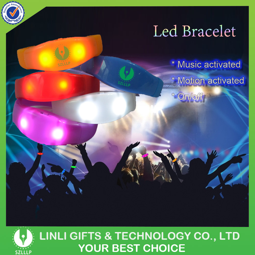 Customized Bangle Sound Activated Led Bracelet , Silicone LED Bracelet, Led Glow Wristband for Giveaways