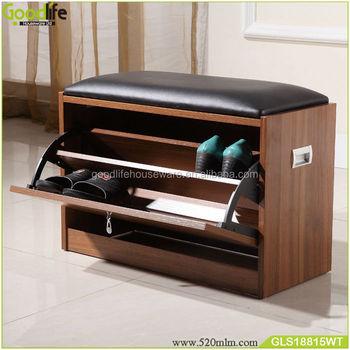 Walnut Wooden Hallway Shoe Cabinet Stool Bench With Cushion