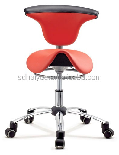 New Red Pu Leather Ergonomic Dental Assistant Saddle