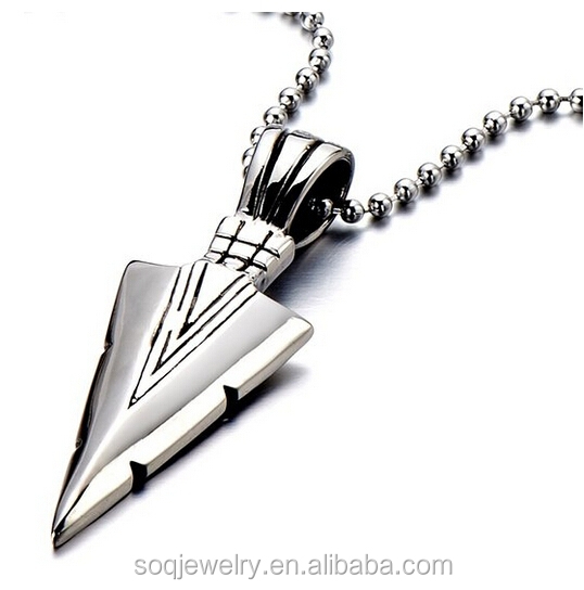 new exquisite metal jewelry wholesale stainless steel arrowhead pendant latest charm design