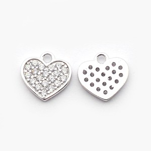 PandaHall Brass Micro Pave Cubic Zirconia Heart Pendants Real Platinum Plated 9x9x1mm Hole 1mm