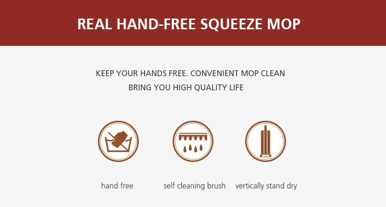 Hand free self squeeze easy floor cleaning mop microfiber cleaning flat mop
