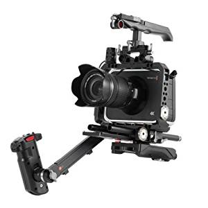 JTZ DP30 Camera Cage with 15mm Rail Rod Baseplate Rig and Top Handle + Electric Handle Grip + Shoulder Pad Extension Arm Bracket Support for Blackmagic Cinema BMCC Camera