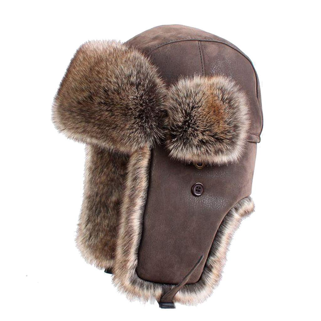 45113c5e8bc Get Quotations · Winter Bomber Caps Vintage Russian Caps Men Women Faux Fur Trapper  Hat PU Leather Wind Proof