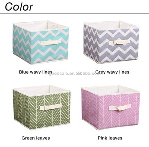 28*28*22CM Medium 4 Set Of Foldable Nonwoven Cloth Organizers Basket Cubes Storage Box with Fabric Handles for Gift