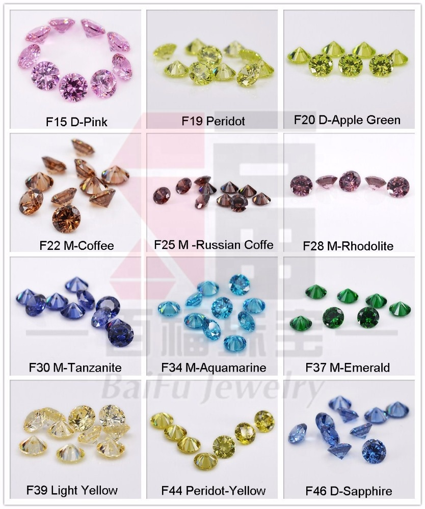 AAAAA loose gemstone crystal wholesale price 1mm 3mm to 12mm star cut cz rough color round cubic zirconia