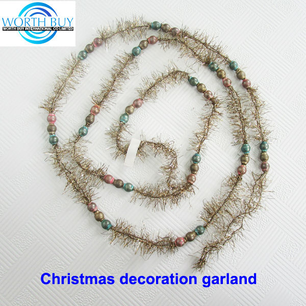 Vintage golden tinsel & beads decorated christmas ornament ball garland supplier