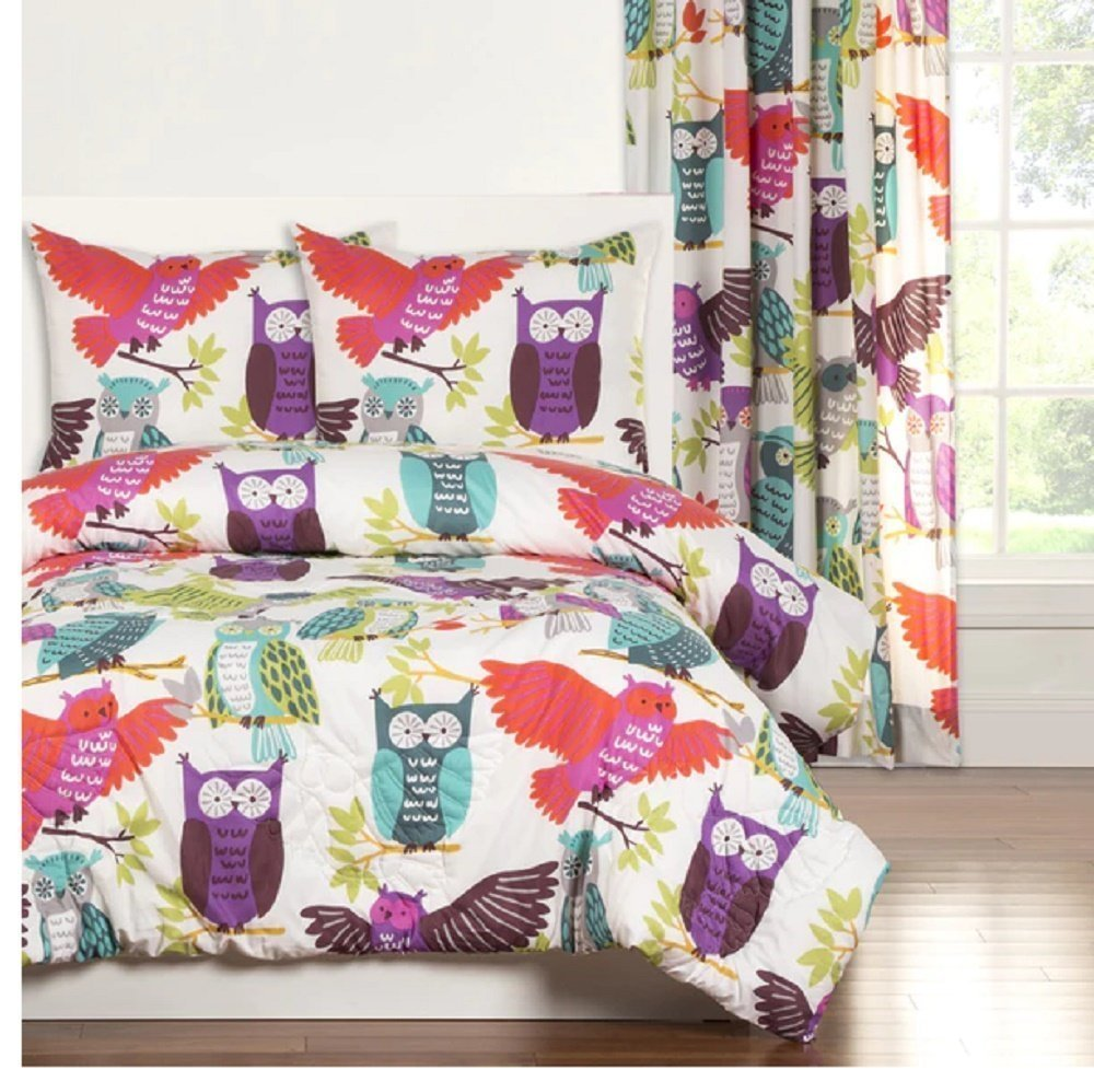 3pc Girls Cute Owl Themed Comforter Full Queen Set, Large Adorable Owls Pattern, Animal Forest Bird Graphic, Pink, Green, Abstract Blue, Purple, Bedding