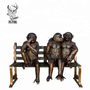 Life size garden bronze three monkey sculptures on bench