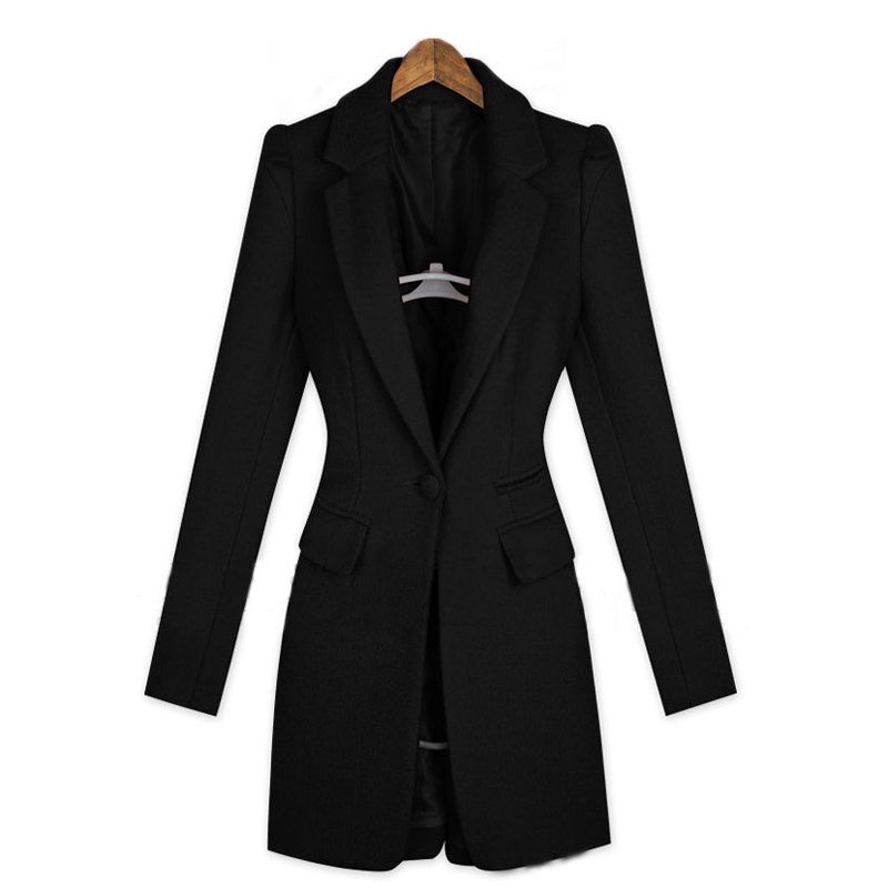 Fashion 2015 Women Black Long Slim Coat Autumn Winter Coat Women's One Button Slim Casual Business Blazer High Fashion