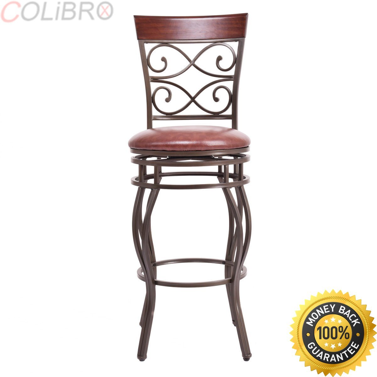 Get Quotations · COLIBROX  Set Of 2 Vintage Bar Stools Swivel Padded Seat  Bistro Dining Kitchen Pub