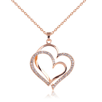 53f7245618 Summer style Rose gold color Crystal Double Heart Necklace Luxury Jewelry  Love heart Necklaces Valentine's Day