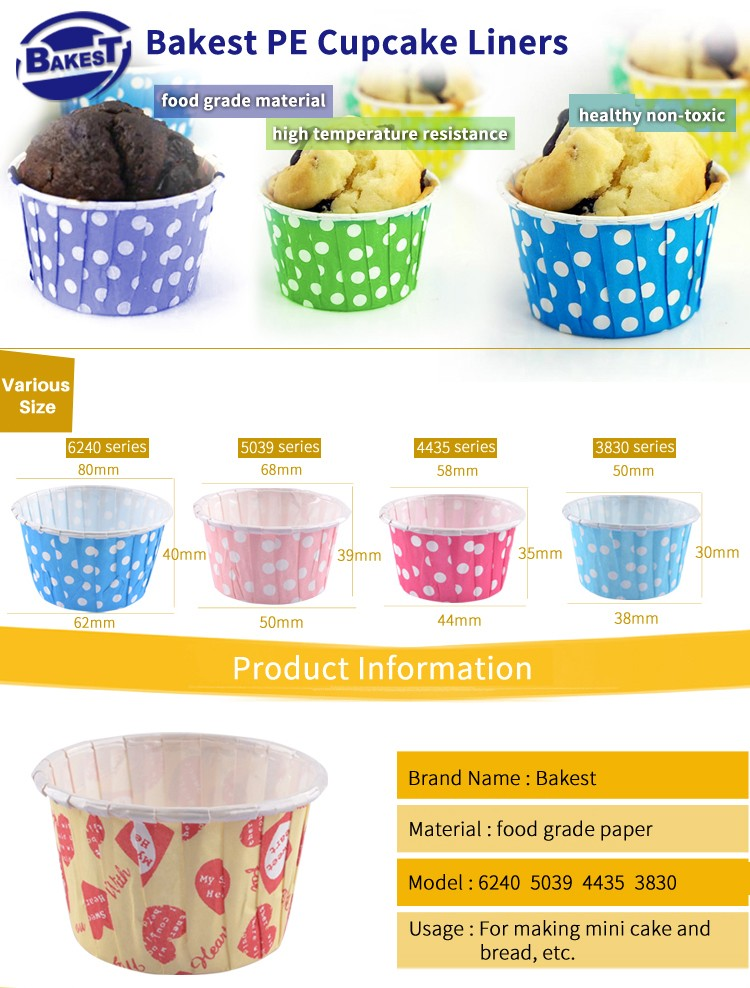 BAKEST Good Food word pattern PET Coated Baking cupcake liners hot sale paper cake cups