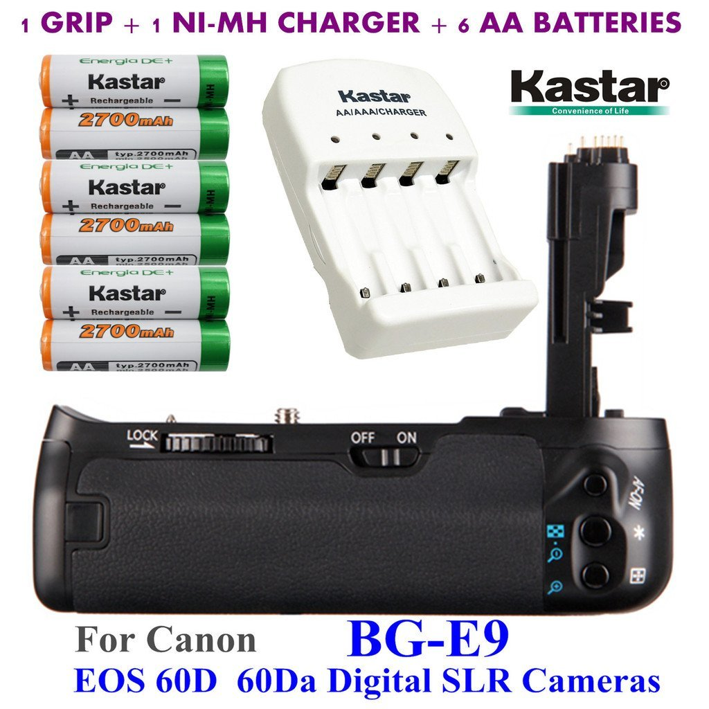 Kastar Pro Multi-Power Vertical Battery Grip (Replacement for BG-E9) + 6x AA NI-MH Batteries(2700mAh) + NI-MH Charger for Canon EOS 60D 60Da Digital SLR Cameras