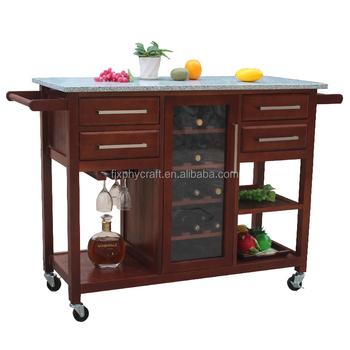 Wooden Kitchen Island Cart Wine Storage