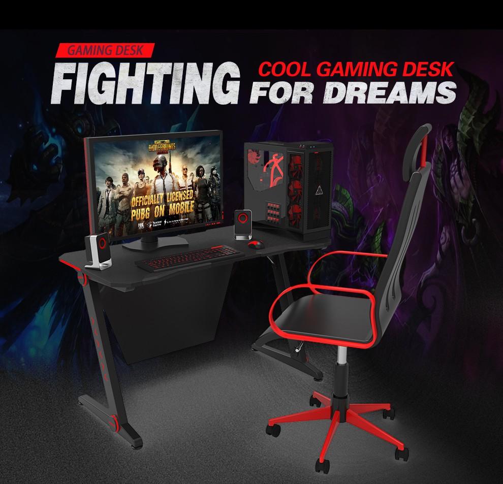 more photos e3bf8 ded8e 2019 computer gaming desk RGB LED lights cable management ...