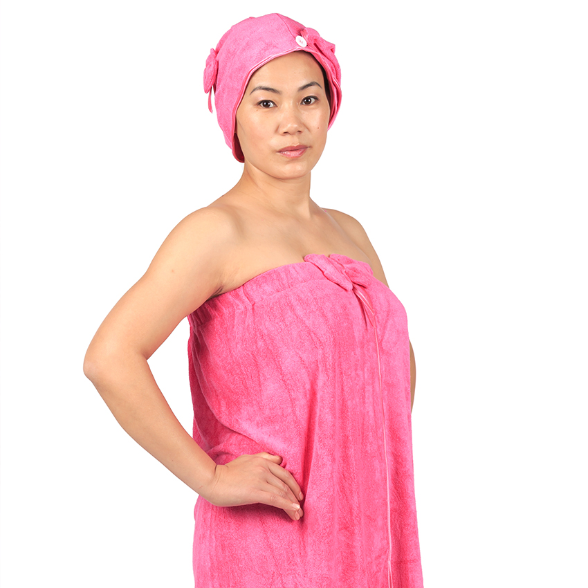 100% bamboo fiber Women Bath Towel Dress Girls Sexy Bath Wrap with Hair Drying Towel