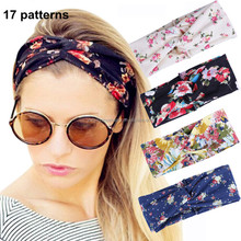 Women Elastic Flower Printed Turban Headwrap Knotted Soft Twisted Headband