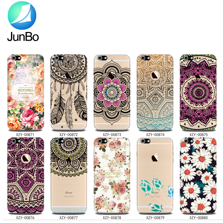 Clear For Iphone 7 Plus Case White Henna Mandala Floral Lace Printed