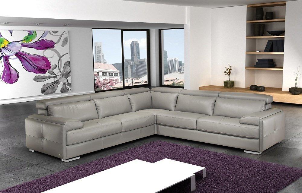 J&M Furniture Gary Ash Grey Full Top Grain Italian Leather Sectional Sofa